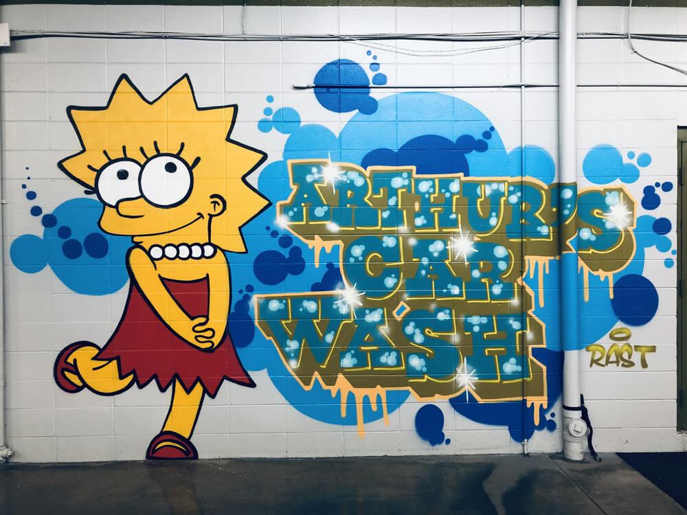 Lisa Simpson graffiti art at Arthur's Car Wash
